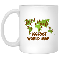 Bigfoot World Map White Mug