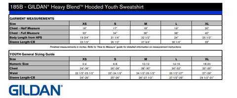 Sizing for youth hoodie