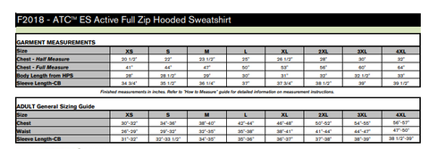 Sizing chart for ATC F2018 style full zip hoodie