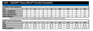 Sizing chart for Gildan 1850 adult hoodie