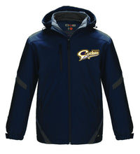 Carleton Place Cyclones youth winter jacket in navy and gun metal grey