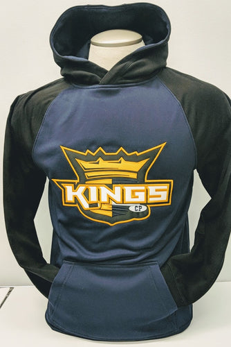 KINGS New Logo Embroidered FLEECE TWO TONE HOODED SWEATSHIRT Navy/Black