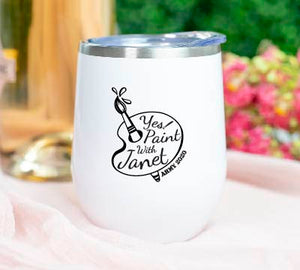 Paint with Janet 12 ounce Stemless Steel Wine Tumbler