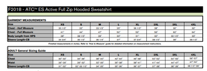 Sizing chart for ATC F2108 style full zip adult hoodie