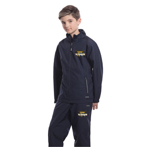 Carleton Place KINGS youth warm up suit in navy with embroidered logo on chest and leg