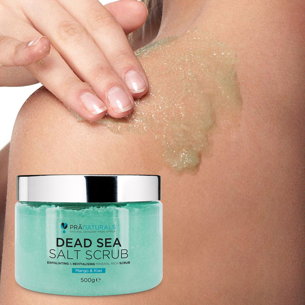 PraNaturals Organic Dead Sea Salt Bath Body Scrub Mango & Kiwi 500G