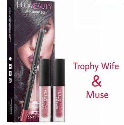 Huda Beauty Lip Contour Set - Lip Pencil + Duo Matte Lipsticks