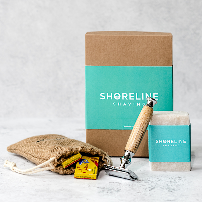 Eco-friendly shaving kit with chrome silver bamboo safety razor, travel bag, shaving soap and blades - Shoreline Shaving