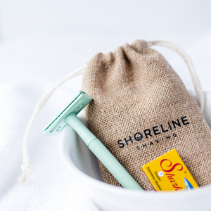 Mint green reusable safety razor travel set with hessian bag and blades - Shoreline Shaving
