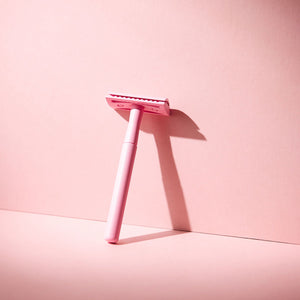 Pastel Pink Reusable Safety Razor with Blades & Hessian Bag