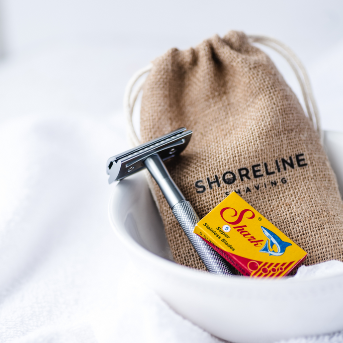 Silver Metal Safety Razor with Hessian Bag and Blades - Shoreline Shaving