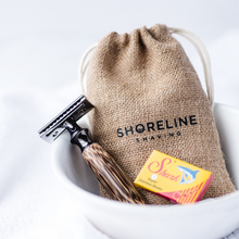 Load image into Gallery viewer, Storm Grey safety razor with a hessian travel bag and blades - Shoreline Shaving