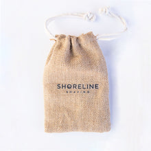 Load image into Gallery viewer, Hessian drawstring travel bag on white background, which is used to carry an eco-friendly safety razor - Shoreline Shaving