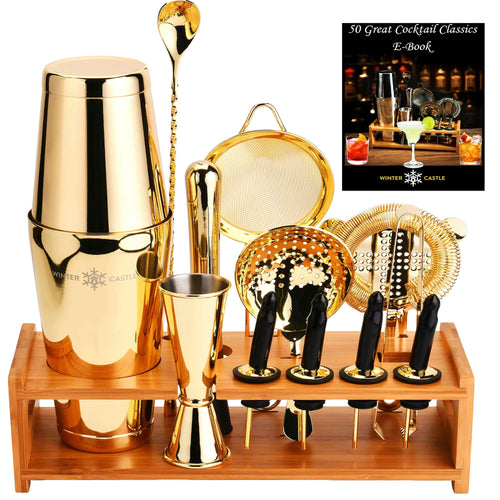 Gold Pro Cocktail Shaker Set by WinterCastle:  The 18-Piece Ultimate Bartender Kit