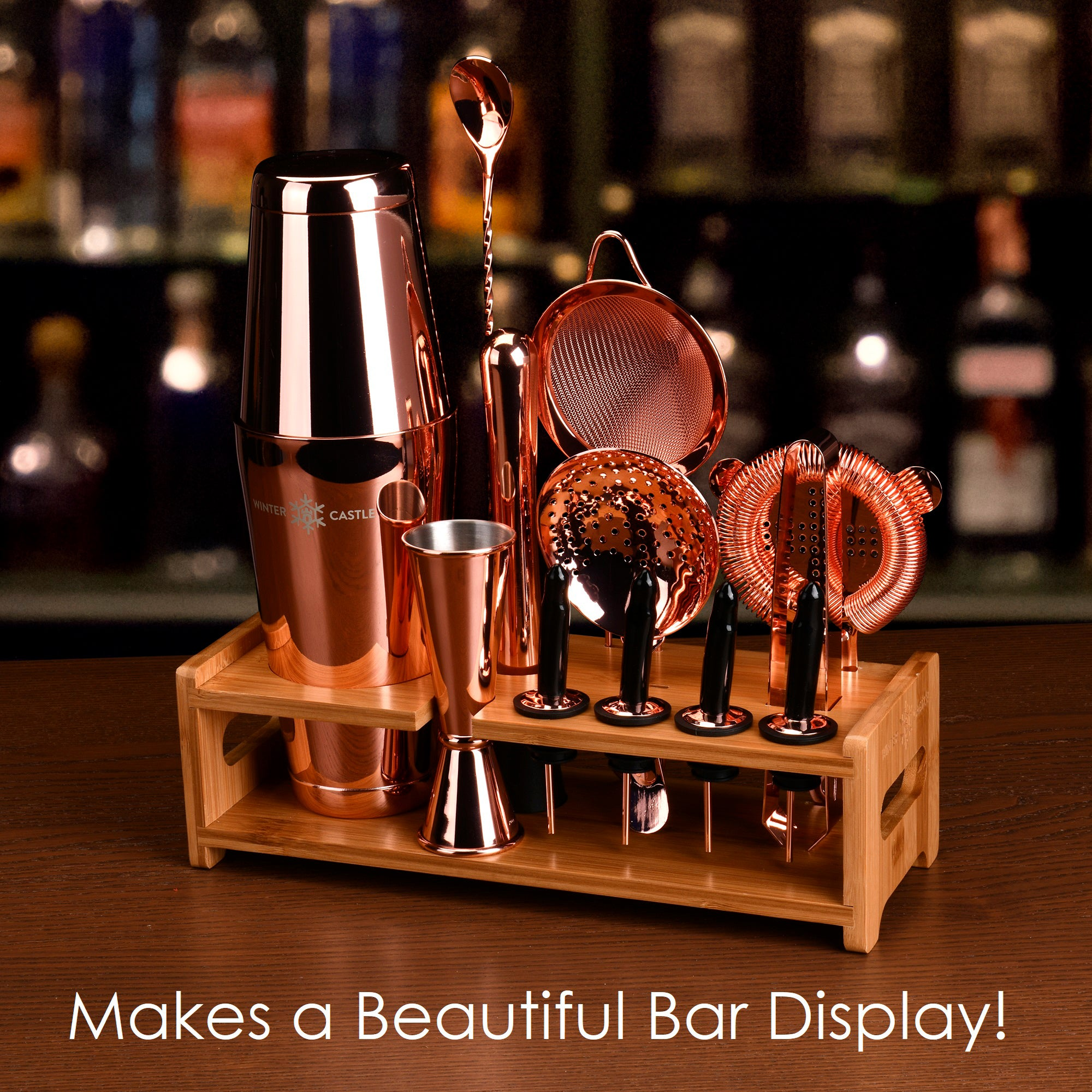 Copper Pro Cocktail Shaker Set by WinterCastle:  The 18-Piece Ultimate Bartender Kit