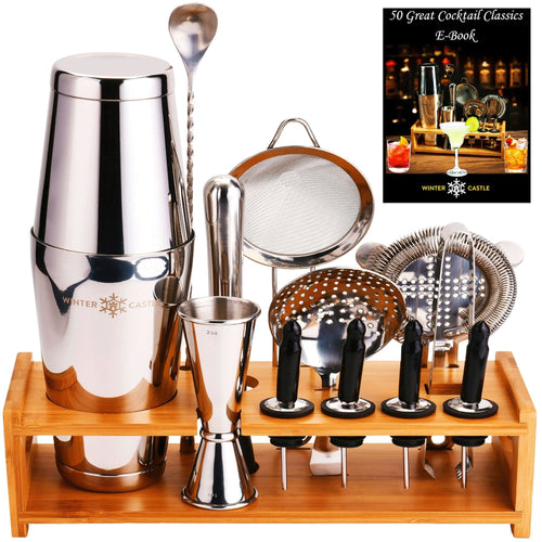 Silver Pro Cocktail Shaker Set by WinterCastle:  The 18-Piece Ultimate Bartender Kit