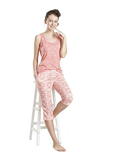 INK+IVY Summer Pajamas for Women, Cute Print Capris Pajama for Woman - Pjs Women Jersey Tank Top and Capri Jogger Pants Set