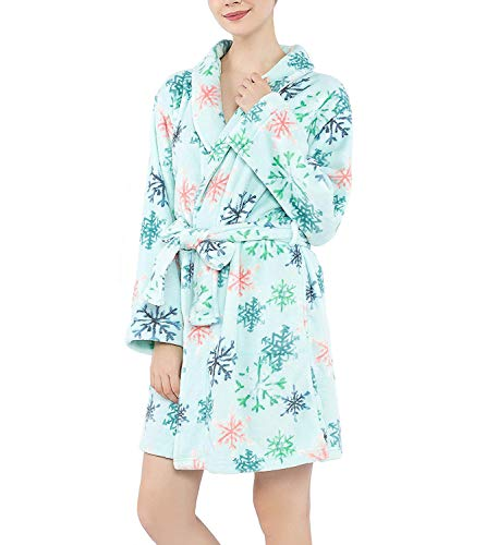 Fleece Bath Robes for Women - Lounge Womens Bathrobe Sleepwear, Knee Length Plush Bath Robe