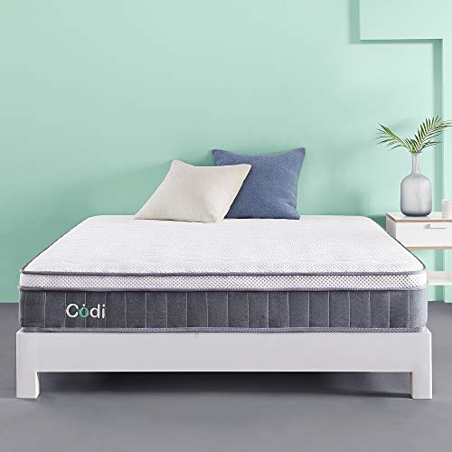 Codi 10 Inch Innerspring Hybrid Memory Foam Mattress –Zero Fiberglass or Latex, Healthy and Hypoallergenic – Advance Tencel Top with Gel Foam Keeps You Cool All Night- CertiPUR-US Certified