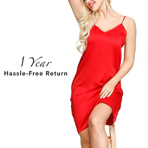 INK+IVY Women Satin Nightgown Spaghetti Strap Chemise Nighties Dress Red M