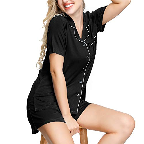 INK+IVY Pajama Set for Women | Silky Short Sleeve Sleepwear Button Down Notch Collar Pjs Sets