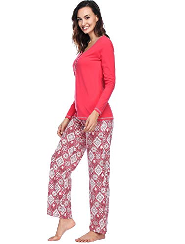 INK+IVY Women Pajamas Set, Fleece & Cotton Ladies Pjs 2 Piece - Long Sleeve Rib Henley Top & Flannel Pants …