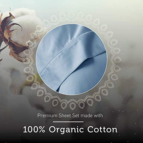"Hyde Lane 400TC Sateen Cotton Sheet Set| 3-4 Piece – Fitted, Flat Sheet & Shams | Stretches Up to 10-14"" to Cover Most Mattress Sizes - Retains Elasticity 