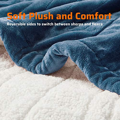 Degrees of Comfort Fuzzy Sherpa Heated Blanket &Heated Plush to Sherpa Throw Beige