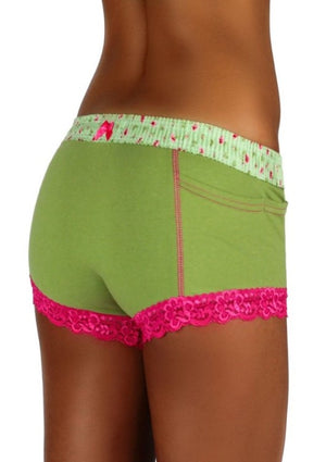 Boxer Brief Sage Fuchsia Forever Roses on Sage Band