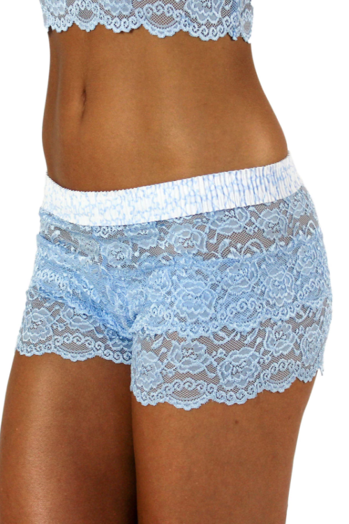Lace Boxer Shorts Light Blue Trellis FOXERS Band