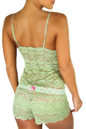 Foxers Lace Camisole Waist Length Sage with Dusty Rose Straps