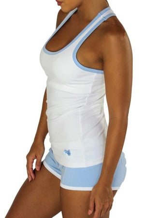 Racerback Shelf Bra Tank Top White with Light Blue Trim