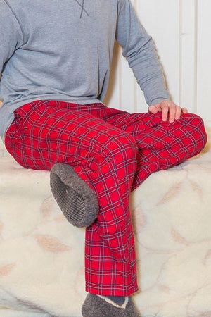 Men's Cotton Flannel Lounge Pants Red Tartan Royal Stewart