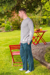 Men's Lounge Pants Cotton Flannel Green Tartan Blackwatch