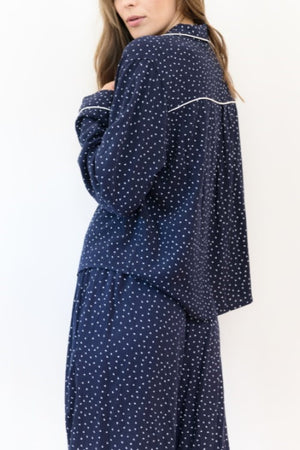 Mini Hearts Pajama Set Navy Blue