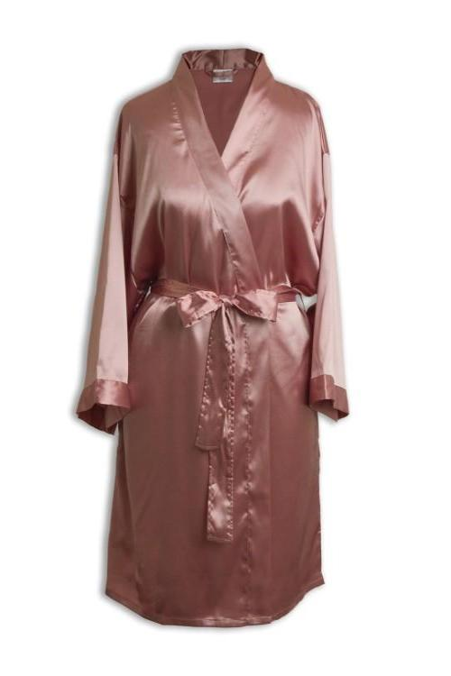 Satin Kimono Robe - Side Pockets - Blush