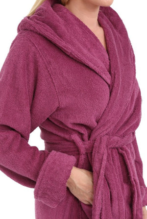 Terry Cotton Robe Burgundy