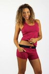 Racerback Shelf Bra Tank Top Dark Rose