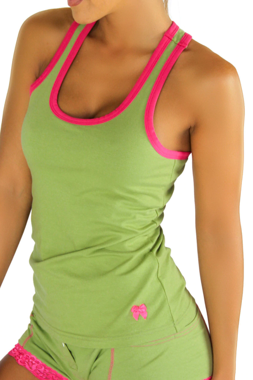 Racerback Shelf Bra Tank Top Sage with Fuchsia Trim