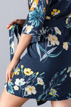 Floral Cotton Robe Navy Blue