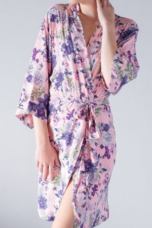 Floral Cotton Robe Pink