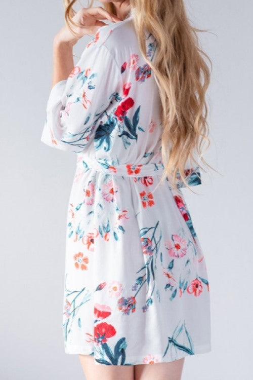 Floral Cotton Robe White