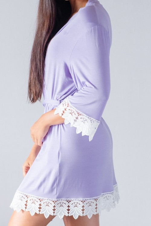 Jersey Lace Robe Periwinkle