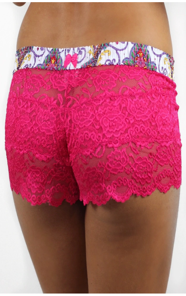 So Paisley Electric Pink Lace Boxers