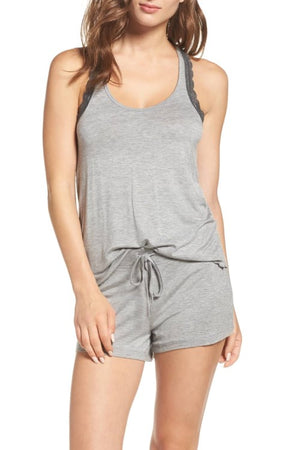 All American Lace Shortie Set Heather Gray