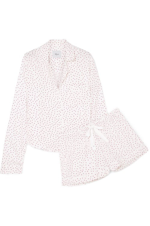 Mini Hearts Pajama Set White