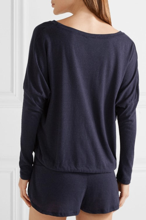 Heather Slouchy Top Deep Blue