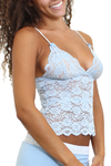 Lace Camisole Waist Length Light Blue Trellis