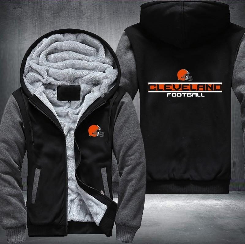 Cleveland Browns Zipper Hoodies Thicken Fleece Printing Pattern