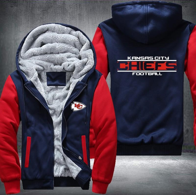 Kansas City Chiefs Zipper Hoodies Thicken Fleece Printing Pattern